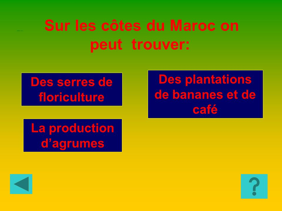 Pommes de terre Froment Arachides Quelle est la culture la plus répandue au Sénégal? GEOGRAPHIE 2