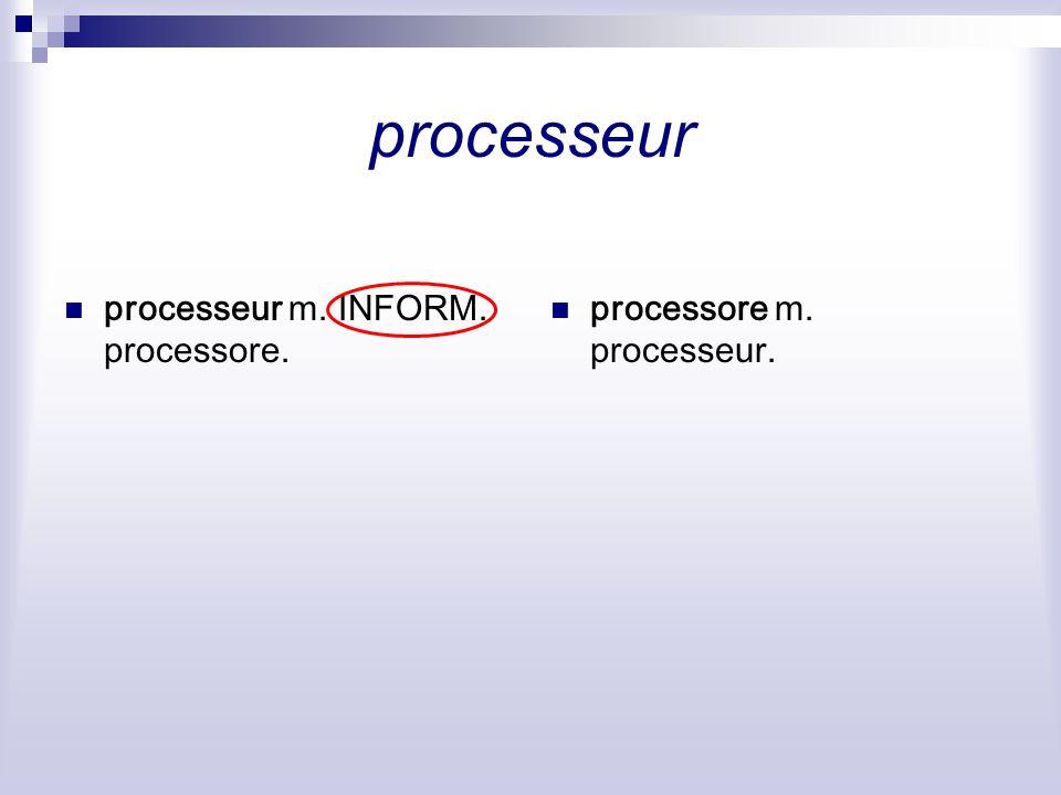 processeur processeur m. INFORM. processore. processore m. processeur.