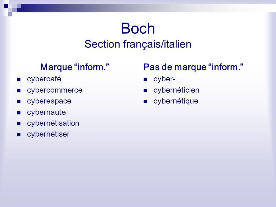 Boch Section français/italien Marque inform. cybercafé cybercommerce cyberespace cybernaute cybernétisation cybernétiser Pas de marque inform. cyber-