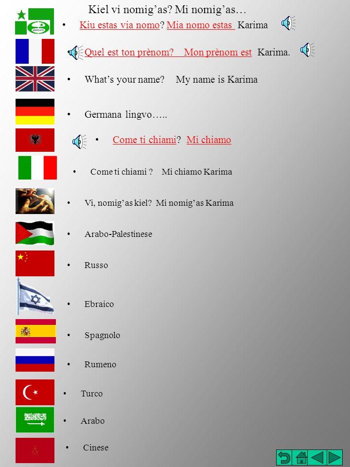 Come ti chiami .Mi chiamo Karima Quel est ton prènom.