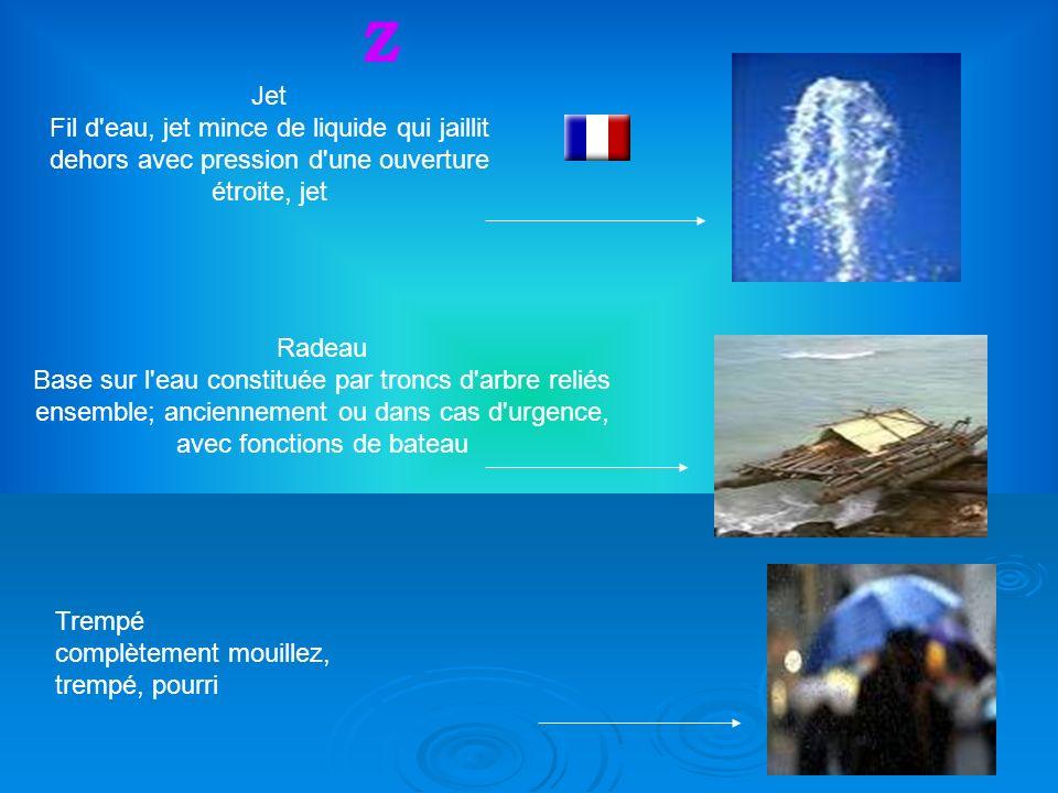 38 Jet Fil d eau, jet mince de liquide qui jaillit dehors avec pression d une ouverture étroite, jet Z Radeau Base sur l eau constituée par troncs d arbre reliés ensemble; anciennement ou dans cas d urgence, avec fonctions de bateau Trempé complètement mouillez, trempé, pourri