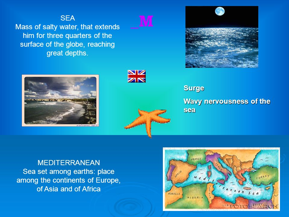6 _M SEA Mass of salty water, that extends him for three quarters of the surface of the globe, reaching great depths.