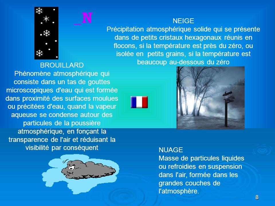 29 Humidifier Mouiller qlco., le baigner Humide L eau diffusée dans l atmosphère dans la forme de vapeur et de nuages _U Ouragan Tempête très violente avec vent et pluie