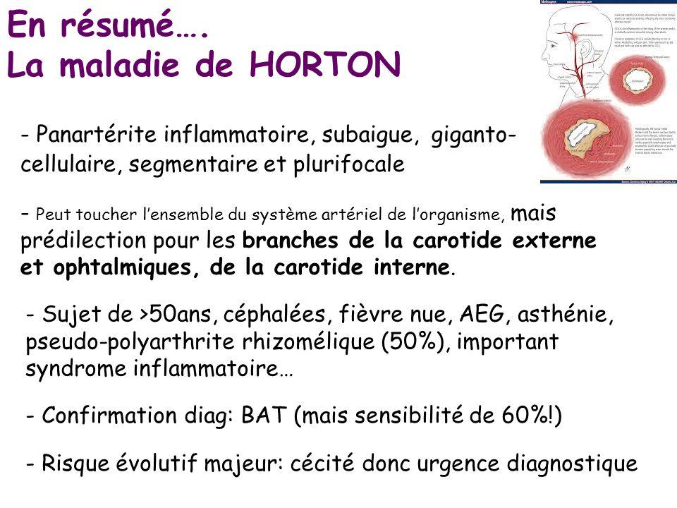 En résumé…. La maladie de HORTON - Panartérite inflammatoire, subaigue, giganto- cellulaire, segmentaire et plurifocale - Peut toucher lensemble du sy