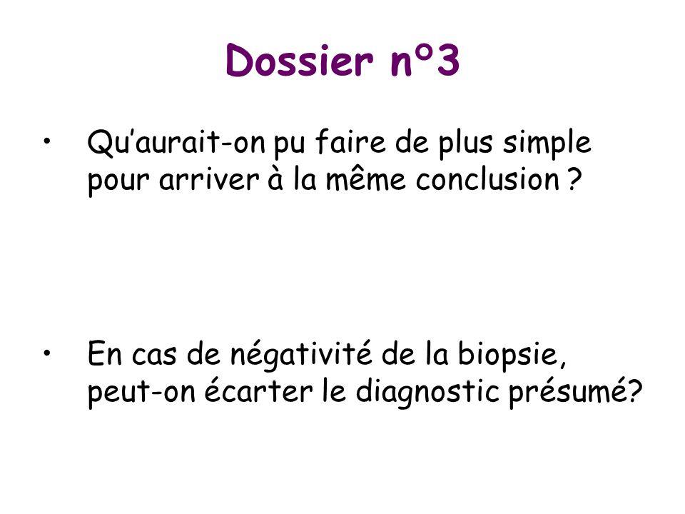 Dossier n°3 Quaurait-on pu faire de plus simple pour arriver à la même conclusion ? En cas de négativité de la biopsie, peut-on écarter le diagnostic