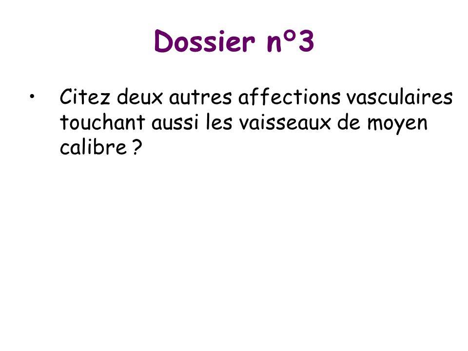 Dossier n°3 Citez deux autres affections vasculaires touchant aussi les vaisseaux de moyen calibre ?