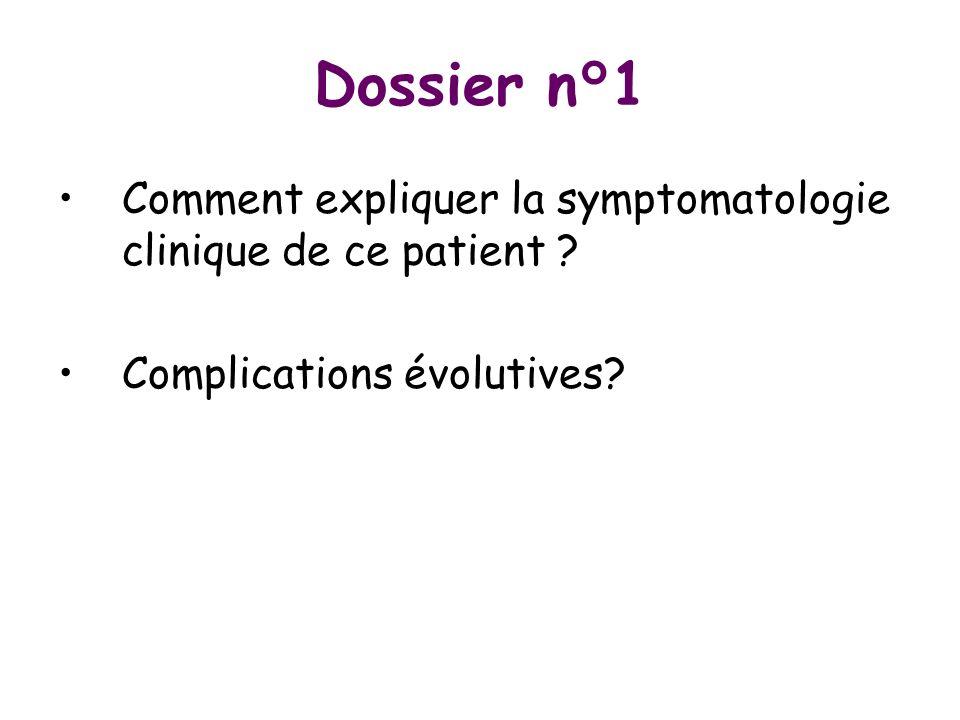 Dossier n°1 Comment expliquer la symptomatologie clinique de ce patient ? Complications évolutives?