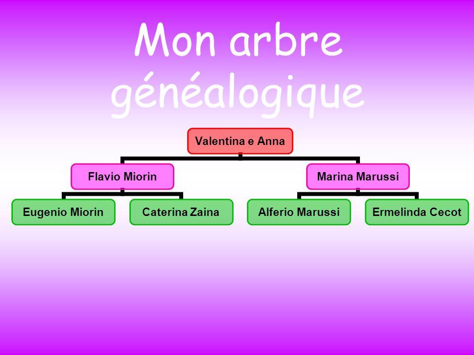 Mon arbre généalogique Valentina e Anna Flavio Miorin Eugenio Miorin Caterina Zaina Marina Marussi Alferio Marussi Ermelinda Cecot