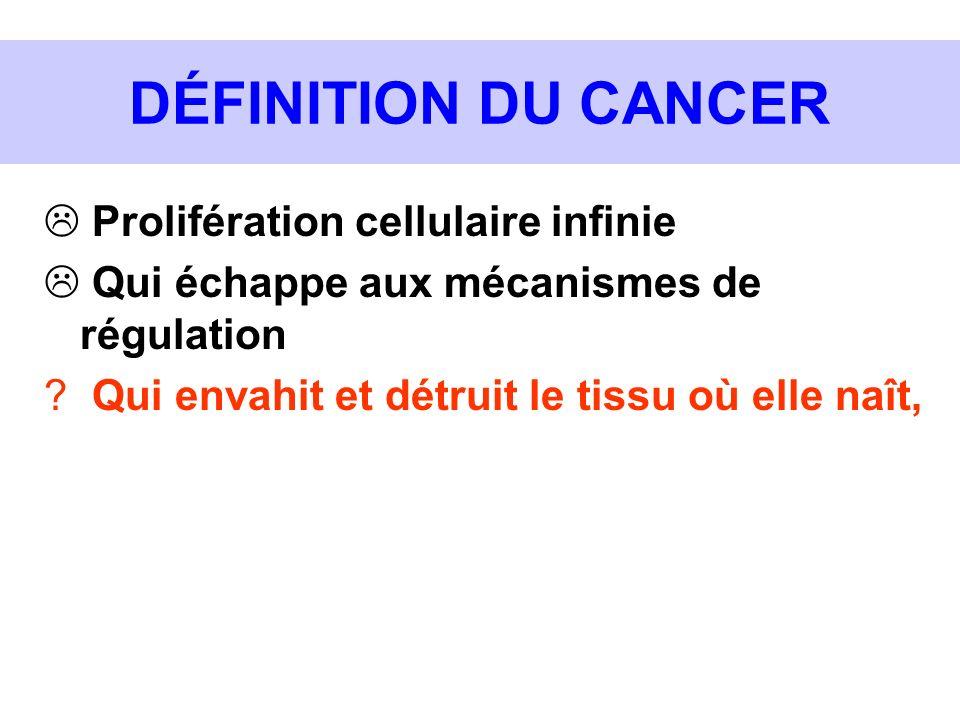 DÉFINITION DU CANCER Prolifération cellulaire infinie Qui échappe aux mécanismes de régulation ? Qui envahit et détruit le tissu où elle naît,