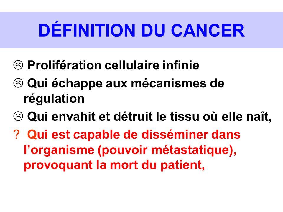 DÉFINITION DU CANCER Prolifération cellulaire infinie Qui échappe aux mécanismes de régulation Qui envahit et détruit le tissu où elle naît, ? Qui est