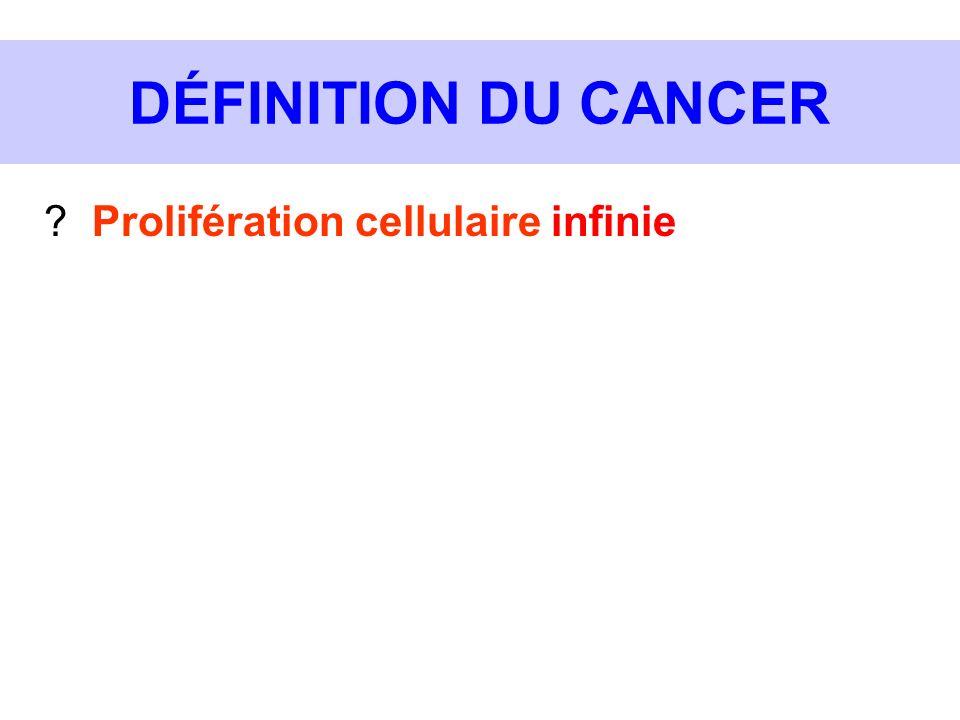 DÉFINITION DU CANCER ? Prolifération cellulaire infinie