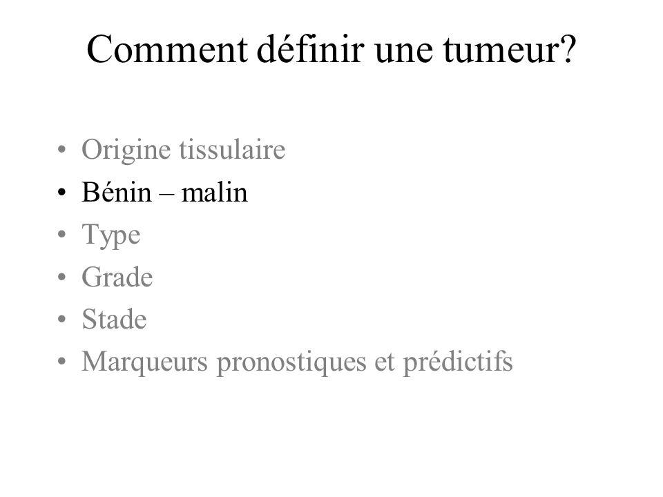 Comment définir une tumeur? Origine tissulaire Bénin – malin Type Grade Stade Marqueurs pronostiques et prédictifs