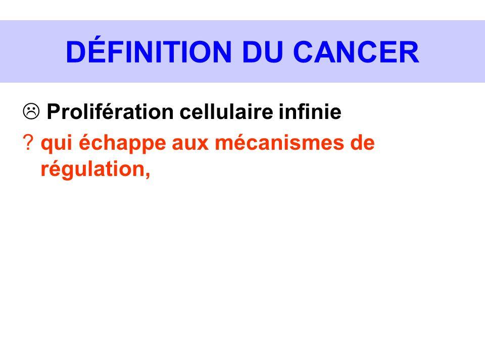 DÉFINITION DU CANCER Prolifération cellulaire infinie ?qui échappe aux mécanismes de régulation,