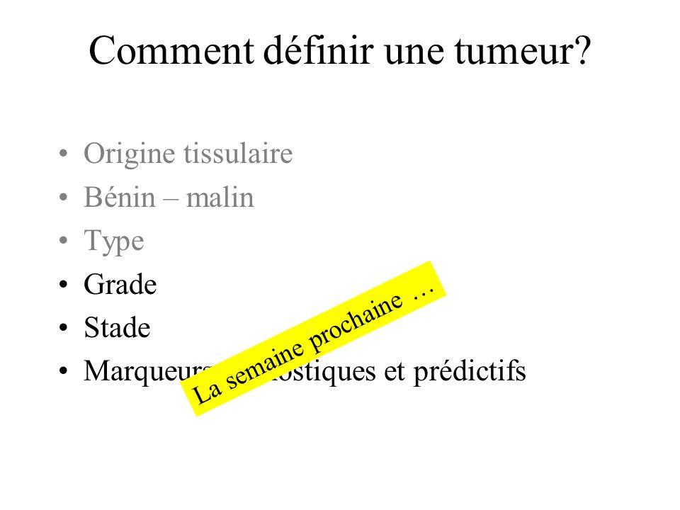 Comment définir une tumeur? Origine tissulaire Bénin – malin Type Grade Stade Marqueurs pronostiques et prédictifs La semaine prochaine …
