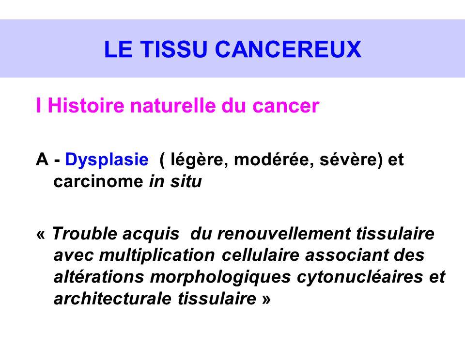 LE TISSU CANCEREUX I Histoire naturelle du cancer A - Dysplasie ( légère, modérée, sévère) et carcinome in situ « Trouble acquis du renouvellement tis