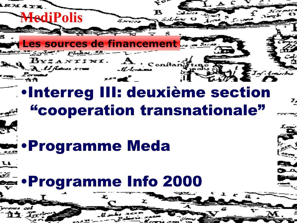 MediPolis Les sources de financement Interreg III: deuxième section cooperation transnationale Programme Meda Programme Info 2000