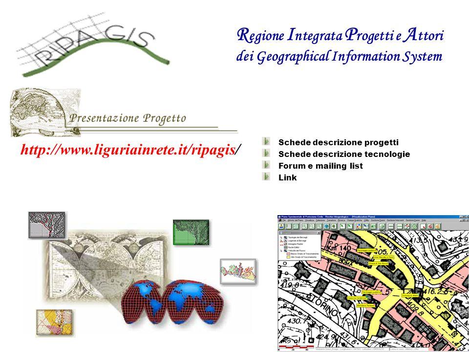 http://www.liguriainrete.it/ripagis/ Schede descrizione progetti Schede descrizione tecnologie Forum e mailing list Link R egione I ntegrata P rogetti e A ttori dei Geographical Information System