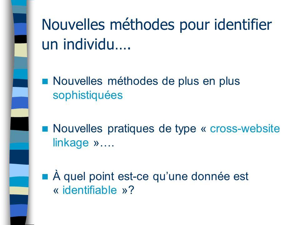 Nouvelles méthodes pour identifier un individu…. Nouvelles méthodes de plus en plus sophistiquées Nouvelles pratiques de type « cross-website linkage