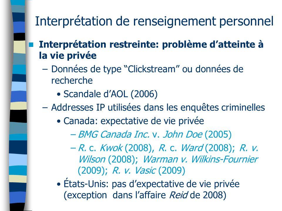 Interprétation de renseignement personnel Interprétation restreinte: problème datteinte à la vie privée –Données de type Clickstream ou données de rec