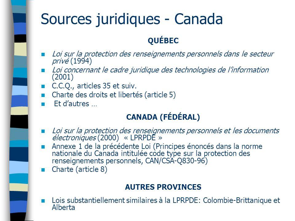 Sources juridiques - Canada QUÉBEC Loi sur la protection des renseignements personnels dans le secteur privé (1994) Loi concernant le cadre juridique