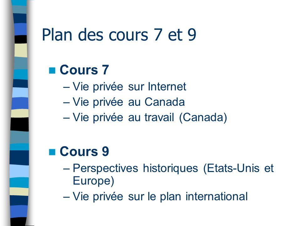 Plan des cours 7 et 9 Cours 7 –Vie privée sur Internet –Vie privée au Canada –Vie privée au travail (Canada) Cours 9 –Perspectives historiques (Etats-