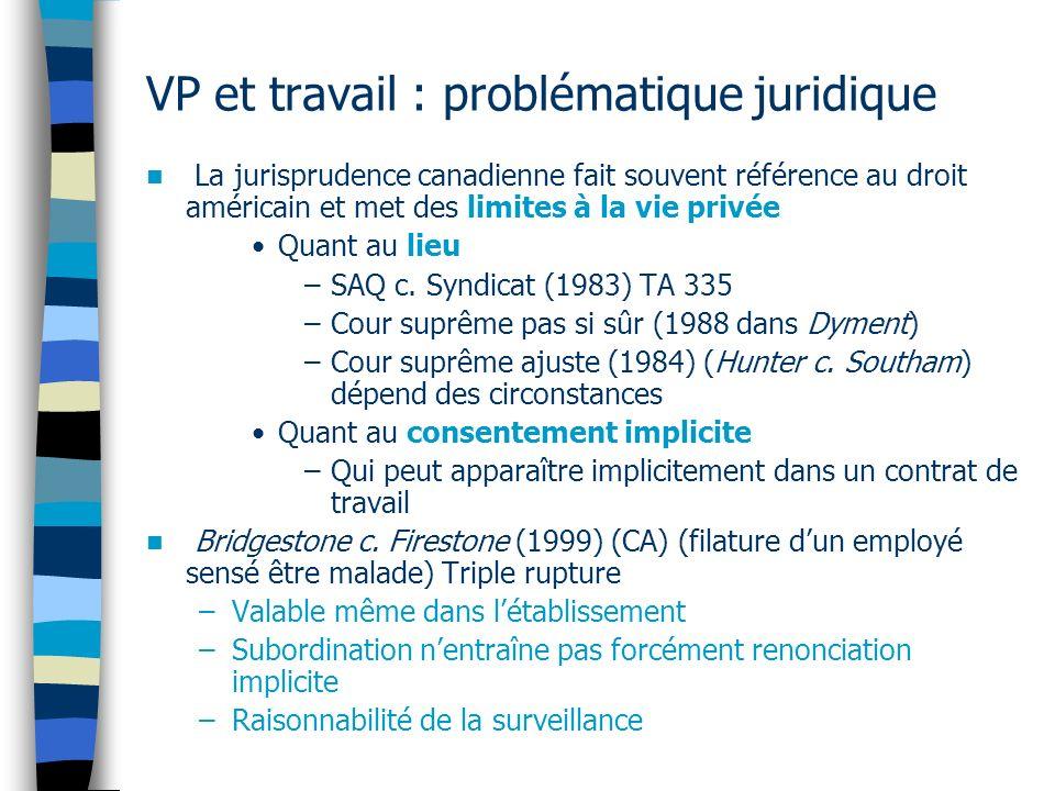 VP et travail : problématique juridique La jurisprudence canadienne fait souvent référence au droit américain et met des limites à la vie privée Quant