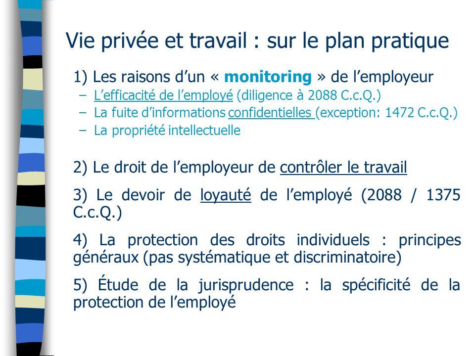 Vie privée et travail : sur le plan pratique 1) Les raisons dun « monitoring » de lemployeur –Lefficacité de lemployé (diligence à 2088 C.c.Q.) –La fu
