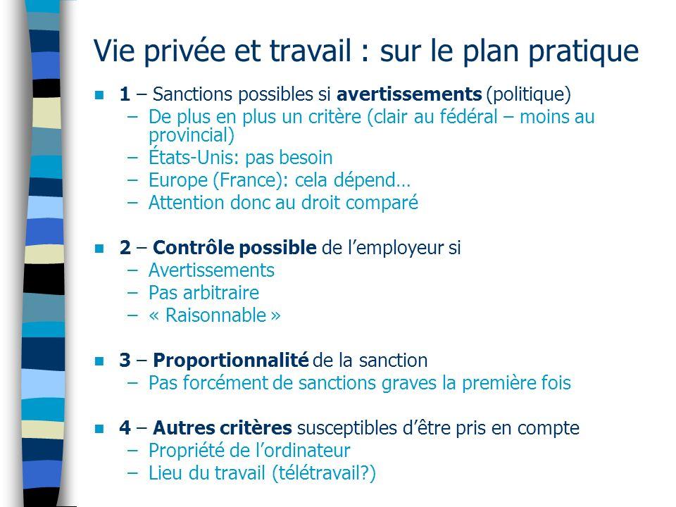 Vie privée et travail : sur le plan pratique 1 – Sanctions possibles si avertissements (politique) –De plus en plus un critère (clair au fédéral – moi