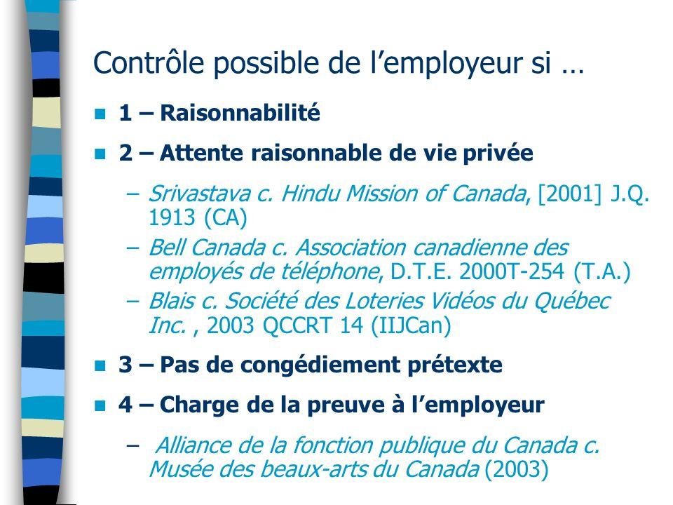 Contrôle possible de lemployeur si … 1 – Raisonnabilité 2 – Attente raisonnable de vie privée –Srivastava c. Hindu Mission of Canada, [2001] J.Q. 1913