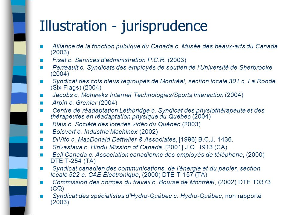 Illustration - jurisprudence Alliance de la fonction publique du Canada c.