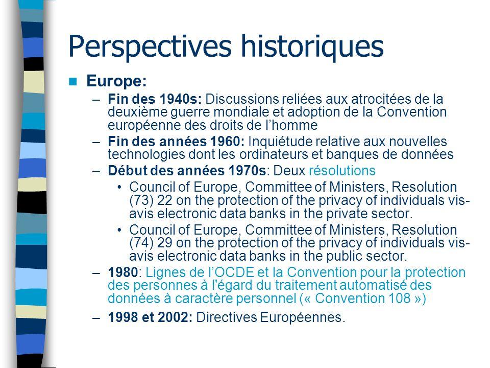 Perspectives historiques Europe: –Fin des 1940s: Discussions reliées aux atrocitées de la deuxième guerre mondiale et adoption de la Convention europé