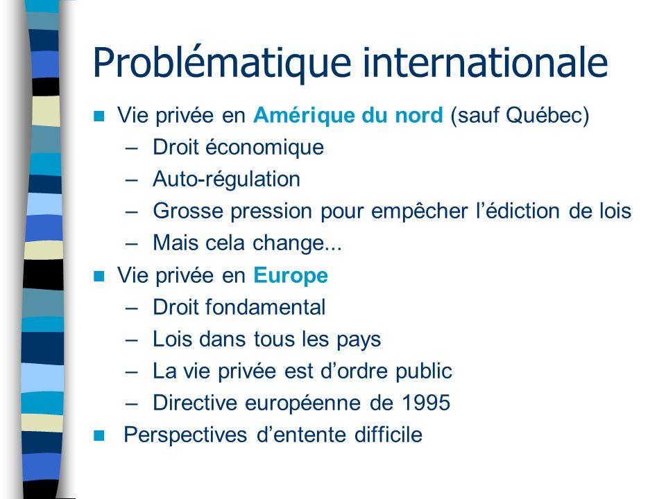 Problématique internationale Vie privée en Amérique du nord (sauf Québec) – Droit économique – Auto-régulation – Grosse pression pour empêcher lédicti