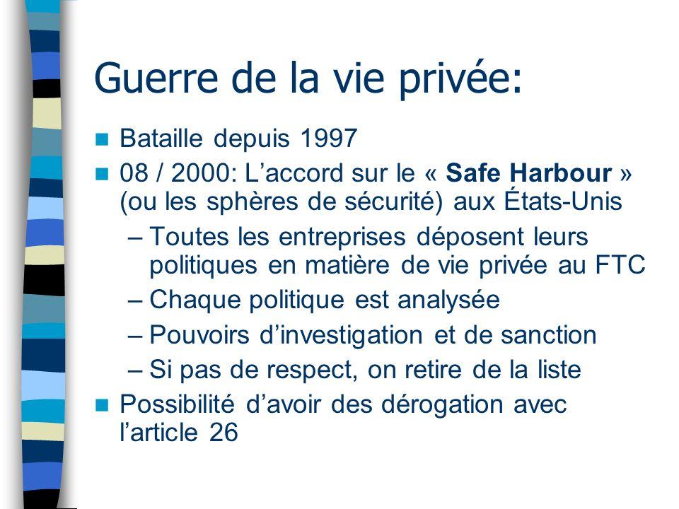 Guerre de la vie privée: Bataille depuis 1997 08 / 2000: Laccord sur le « Safe Harbour » (ou les sphères de sécurité) aux États-Unis –Toutes les entre