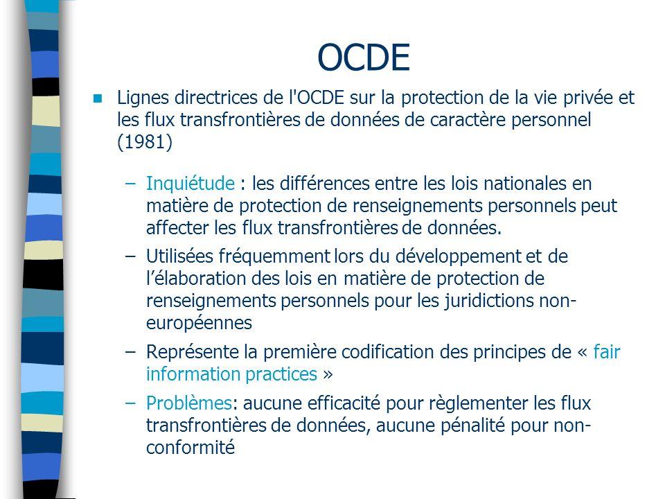 OCDE Lignes directrices de l'OCDE sur la protection de la vie privée et les flux transfrontières de données de caractère personnel (1981) –Inquiétude
