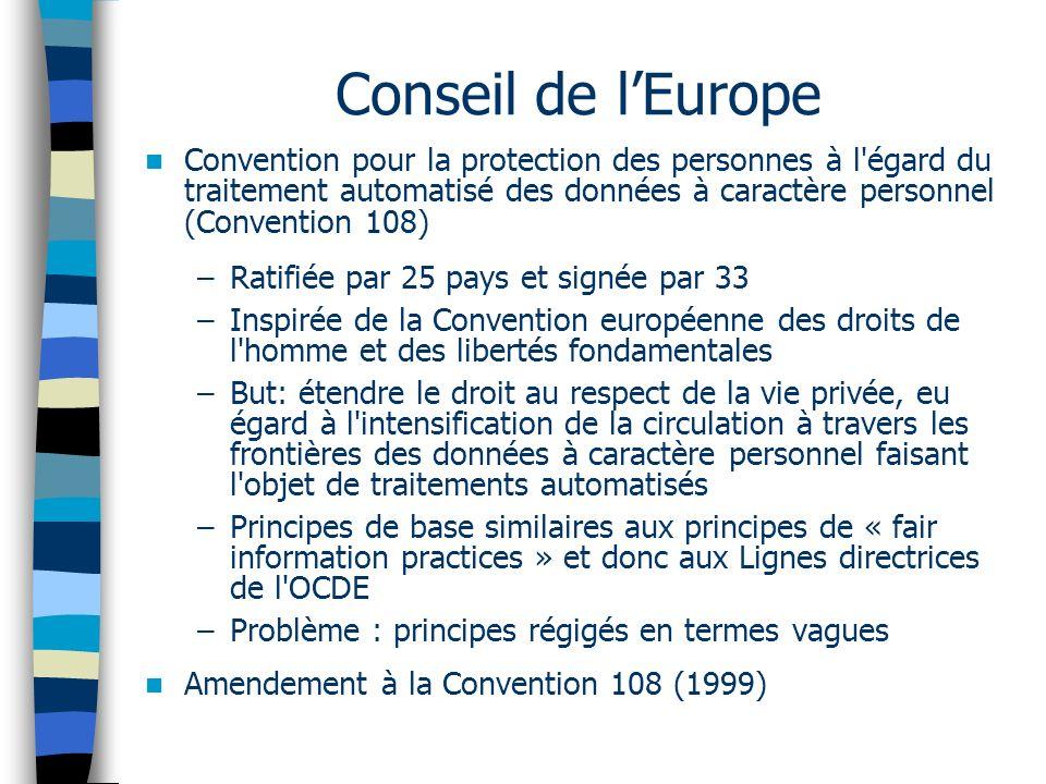Conseil de lEurope Convention pour la protection des personnes à l'égard du traitement automatisé des données à caractère personnel (Convention 108) –