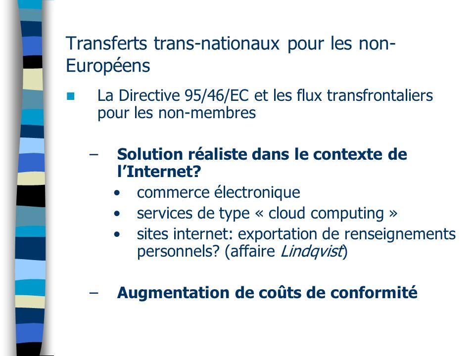 Transferts trans-nationaux pour les non- Européens La Directive 95/46/EC et les flux transfrontaliers pour les non-membres –Solution réaliste dans le