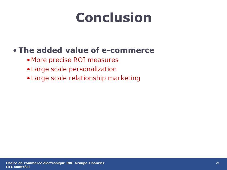 21Chaire de commerce électronique RBC Groupe Financier HEC Montréal Conclusion The added value of e-commerce More precise ROI measures Large scale personalization Large scale relationship marketing