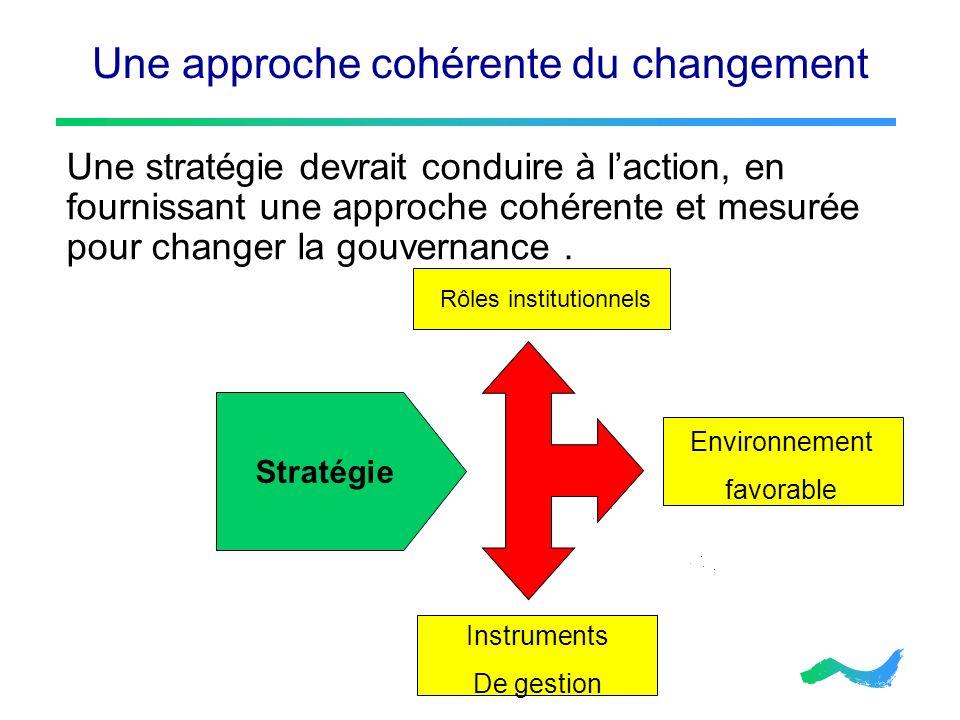 Une approche cohérente du changement Une stratégie devrait conduire à laction, en fournissant une approche cohérente et mesurée pour changer la gouver