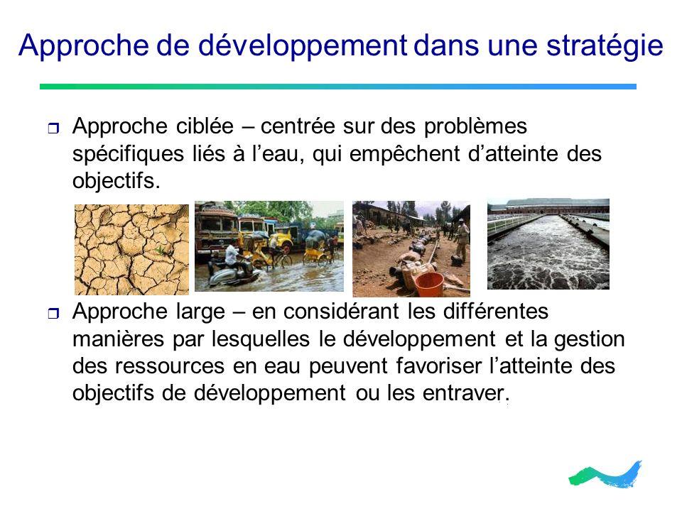 Approche de développement dans une stratégie Approche ciblée – centrée sur des problèmes spécifiques liés à leau, qui empêchent datteinte des objectif