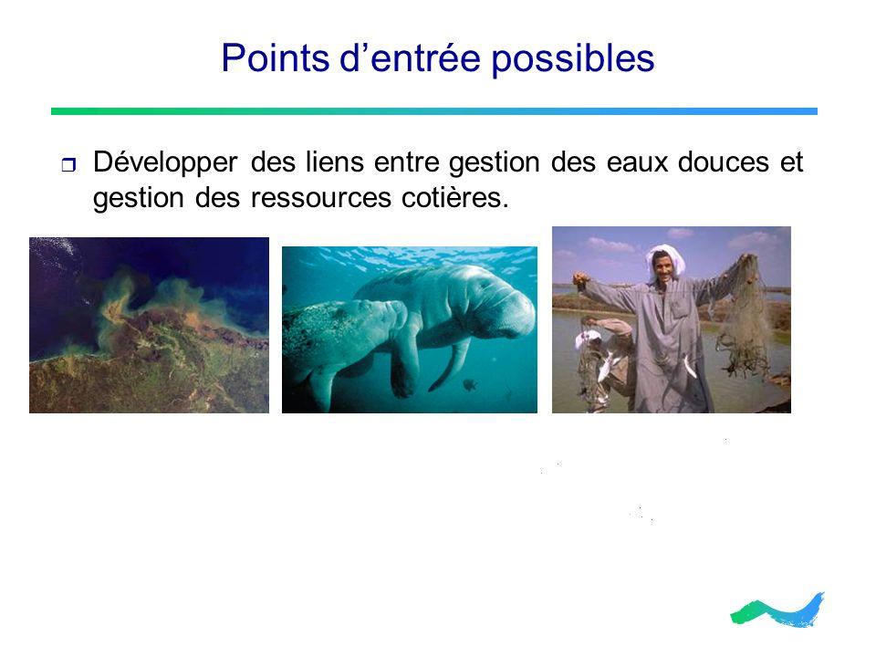 Points dentrée possibles Développer des liens entre gestion des eaux douces et gestion des ressources cotières.