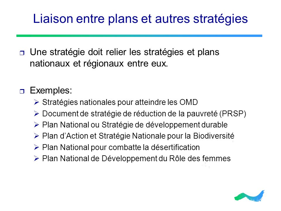 Liaison entre plans et autres stratégies Une stratégie doit relier les stratégies et plans nationaux et régionaux entre eux. Exemples: Stratégies nati