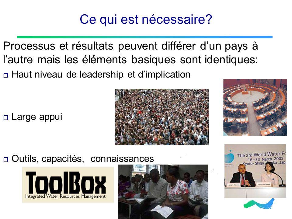 Ce qui est nécessaire? Processus et résultats peuvent différer dun pays à lautre mais les éléments basiques sont identiques: Haut niveau de leadership