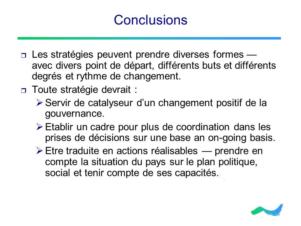 Conclusions Les stratégies peuvent prendre diverses formes avec divers point de départ, différents buts et différents degrés et rythme de changement.