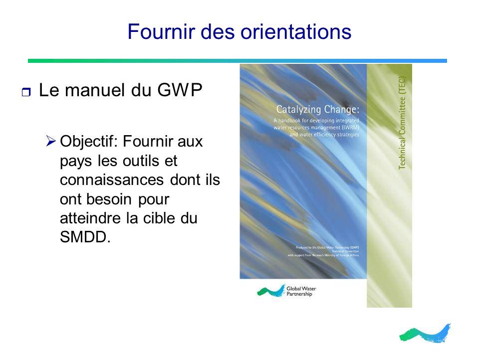 Fournir des orientations Le manuel du GWP Objectif: Fournir aux pays les outils et connaissances dont ils ont besoin pour atteindre la cible du SMDD.