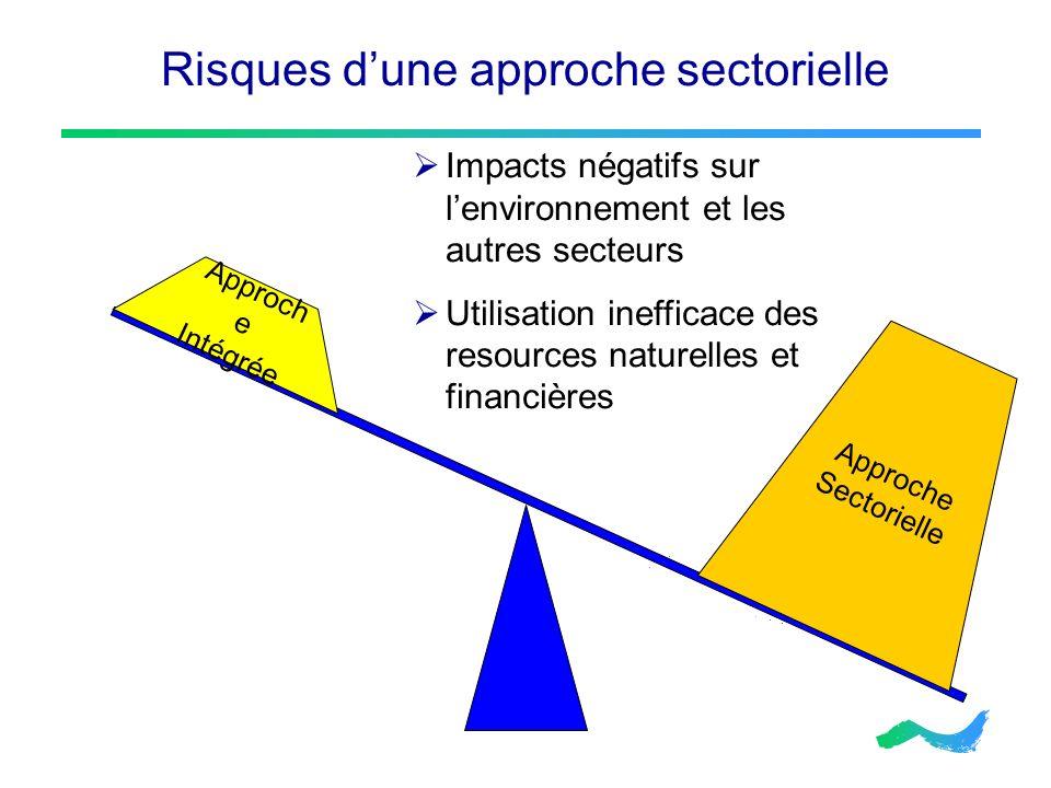 Risques dune approche sectorielle Approche Sectorielle Approch e Intégrée Impacts négatifs sur lenvironnement et les autres secteurs Utilisation ineff