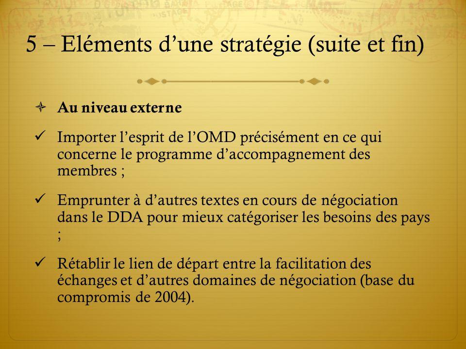 5 – Eléments dune stratégie (suite et fin) Au niveau externe Importer lesprit de lOMD précisément en ce qui concerne le programme daccompagnement des