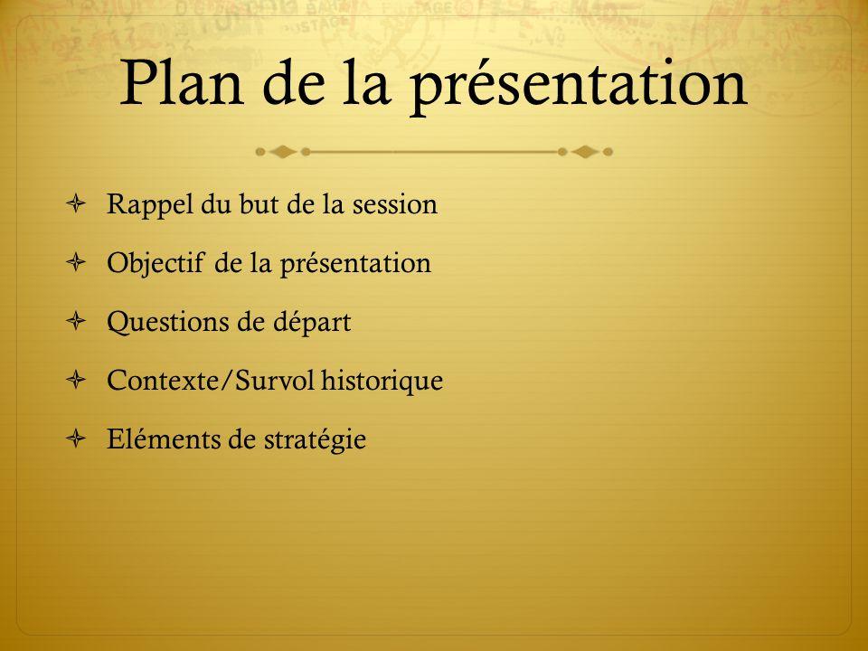 Plan de la présentation Rappel du but de la session Objectif de la présentation Questions de départ Contexte/Survol historique Eléments de stratégie