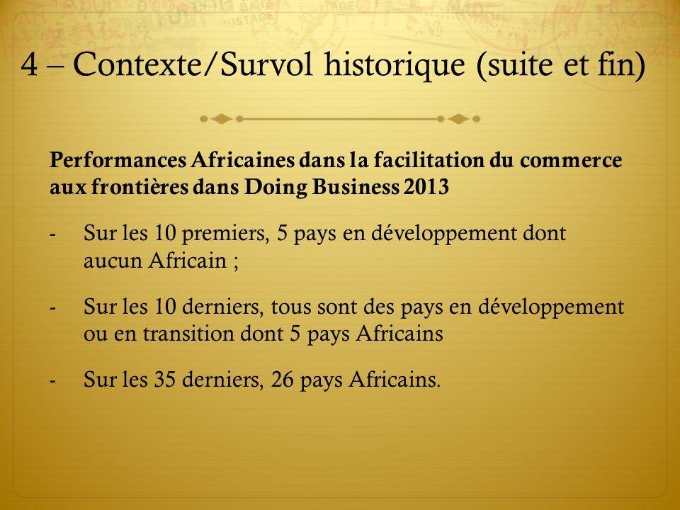 4 – Contexte/Survol historique (suite et fin) Performances Africaines dans la facilitation du commerce aux frontières dans Doing Business 2013 -Sur le