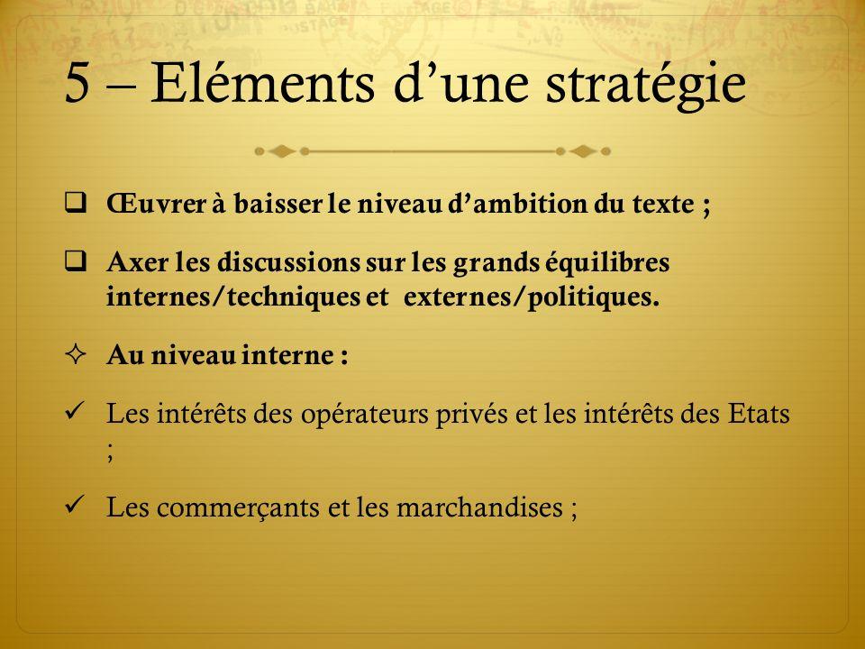 5 – Eléments dune stratégie Œuvrer à baisser le niveau dambition du texte ; Axer les discussions sur les grands équilibres internes/techniques et exte