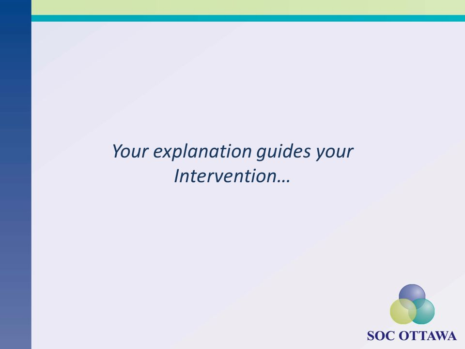 Your explanation guides your Intervention…